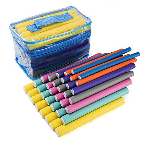 Waloden 56 Pack 7' Flexible Curling Rods Hair Curlers Rollers Twist-Flex Hair Rollers Magic Hair Rollers Flexible Foam Curling Rods