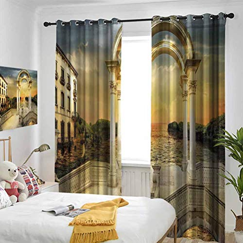 Fantasy Surreal Bridge Gateway with Ornaments Enchanted Woods Fairytale Land White Pale Yellow Green Bedroom blackout curtains Three-layer braided noise reduction ring top shade curtain W72 x L84 Inc