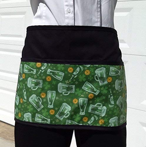 Handmade server waitress half apron Big Beer with three pockets 6769