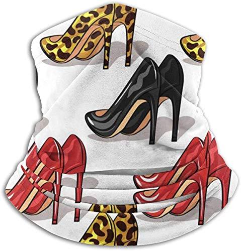 Gekleurde schoenen met hoge hakken, patroon met kraag, verwarmend, mond, winddicht, voor mannen en vrouwen, zwart