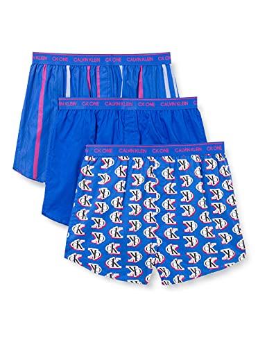 Calvin Klein Herren Boxer Slim 3PK Boxershorts, Logo Step/Wasserkocher B/Step Stripe, L