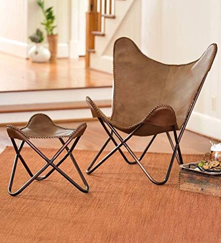 Handmade Leather Arm Chair Cover with Iron Stand and Leather Stool Leather Butterfly Chair Home Decor Rich Brown