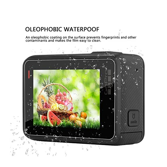 [6 Pack] Tempered-Glass Screen Protector for GoPro Hero 7 (Black Only) / Hero 5 Black Hero 6 Black (2-Pack) & Lens… 3 Designed for Gopro Hero 5/6 Black. Precise laser cut designed specifically to offer max body coverage. Greatest protection: Extremely high hardness,resists scratches up to 9H Tempered Glass with long lasting protection. 99.99% HD Clarity and Touchscreen Accuracy: High-response, high-transparency.