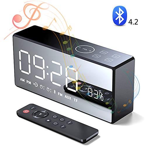 SHENGY Draadloze Bluetooth-luidspreker, heavy bas muziekspeler, touch- en afstandsbediening, LCD-spiegelweergave, led-tijdweergave voor wekker TF FM-radiotemperatuur