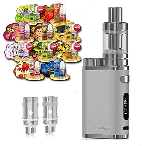 Anfänger XXL Set E-Zigarette SC produced by Eleaf Pico | iStick 75W Starterset Silber 2600mAh | TC (Temperaturregelung) | mit 10 x SC Liquids - 00mg Rauchen ohne Nikotin