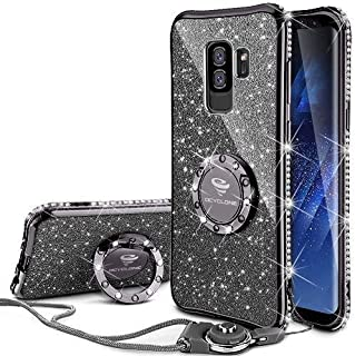 Galaxy S9 Plus Case, Glitter Bling Diamond Rhinestone Bumper Cute Galaxy S9 Plus Phone Case for Girls with Ring Kickstand Sparkly Protective Samsung Galaxy S9 Plus Case for Girl Women - Purple Black