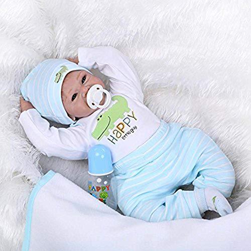 Realistische Reborn Babypuppen 22 Zoll realistische Reale Babypuppe für Alter 3+ geben Magnet-Schnuller frei Fauay
