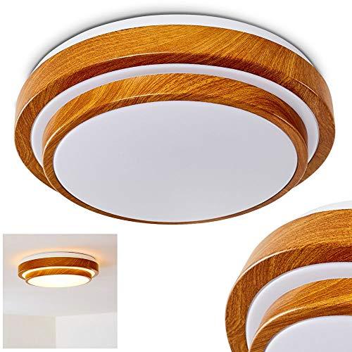 LED Deckenleuchte Sora, runde Deckenlampe aus Metall in moderner Holz-Optik, 18 Watt, 1380 Lumen, Lichtfarbe 3000 Kelvin (warmweiß), IP 44, auch für das Badezimmer geeignet