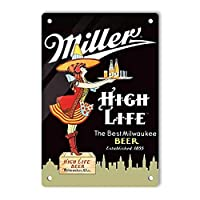 RCY-T Vintage Aluminum ブリキサイン, Miller HIGH Life Beer Retro Decor Sign Wall Poster for Men Cave Garage Home Bars Movie Pubs 20x30cm