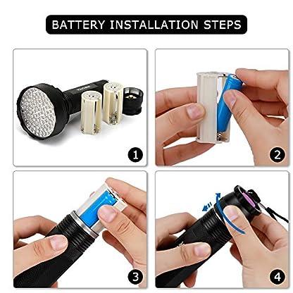 YOUTHINK UV Torch, 100 LED UV Flashlight with UV Protection Glasses, 395nm Upgraded 100 LED Flashlight Black Light Ultraviolet Lamp, Dog Cat Urine Detector, for Carpet/Floor 9
