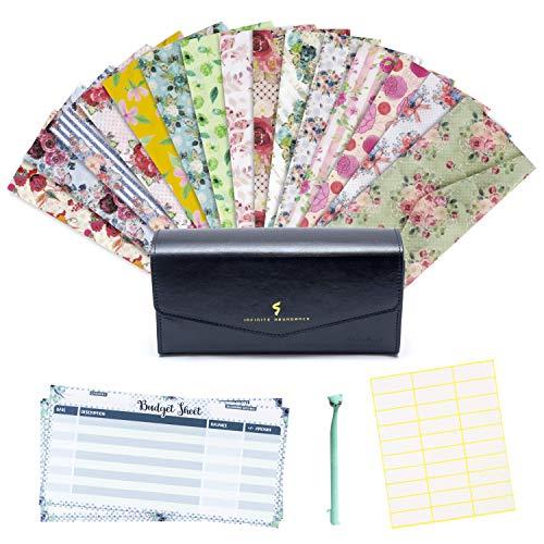 Cash Envelope System Wallet - Saving Money Organizer - 15 Floral Budget Envelopes with Velcro Closure - Plastic Cash Envelopes for Budgeting - 15 Budget Sheets - Budget Wallet Black