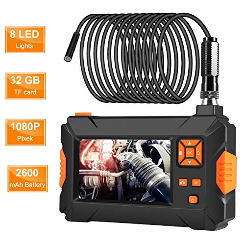 """ROTEK Industrial Borescope,1080P Inspection Camera with 4.3""""Color Screen,IP67 Waterproof Endoscope with 8 LED Lights,2500mAh Built-in Battery and 32GB SD Card"""