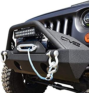 DV8 Jeep Wrangler Front Bumper Hammer Forged 4x4 Offroad Bumper w/Accessories Fits 07-17 JK Model Includes Winch Plate, Fog Lights, and D-Rings Low Profile for Better Ventilation FBSHTB-15
