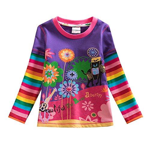 VIKITA Mädchen Langarm Baumwolle T-Shirt Top 1-8 Jahre L328 8T