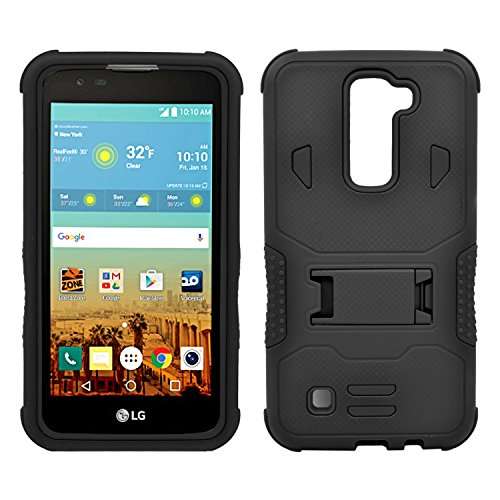 LG K7 Case, Heavy Duty Dual Layer Hybrid Case cover with Build In Kickstand Protective Case cover For LG K7 /Tribute 5 (T-Mobile, Sprint, Metro PCS, Boost Mobile) Black on Black