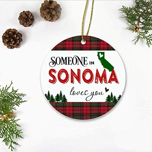 Christmas Ornament, Christmas Ornaments 2019, Someone In Sonoma California State Love You, Long Distance Relationships Gifts For Family And Friend, Keepsake Xmas Ornaments, 3' Xmas Ornament