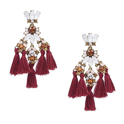 Bonarty Elegante Pendiente Bohemio Mujeres Vintage Borla Larga Flecos Boho Pendientes Colgantes - Vino Rojo