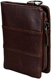 Genuine Leather RFID Men Purse Wallet Card Holder for Men Casual Fashion Travel Shopping Wallet (Color : Coffee, Size : S)