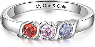 Personalized Family Mothers Rings with 3 Simulated Birthstones Engraved Names Anniversary Rings for Grandma