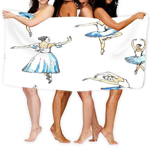 Yocmre Toallas de Playa Toallas de baño para el hogar Baño Piscina y Gimnasio Patrones sin Fisuras Bailarinas Bailarinas de Ballet Negro s