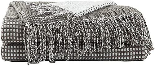 Hansleep Plaid Copridivano Decorativo, 130x150cm, Copritutto per Letto & Telo Arredo con Frange,Multiuso in Microfibra, Grigio Bianco