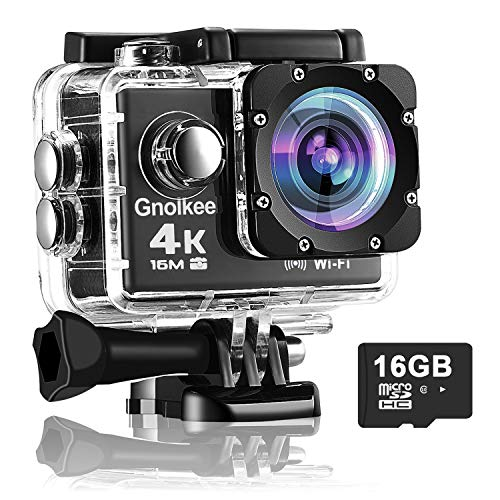 Gnolkee 4K WiFi Action Camera 16GB TF Card,16MP Underwater Video Camera 170 Wide Angle Sports Cam with Remote, 2 Batteries, 24 Accessories Mounting Kit - 20 Pack