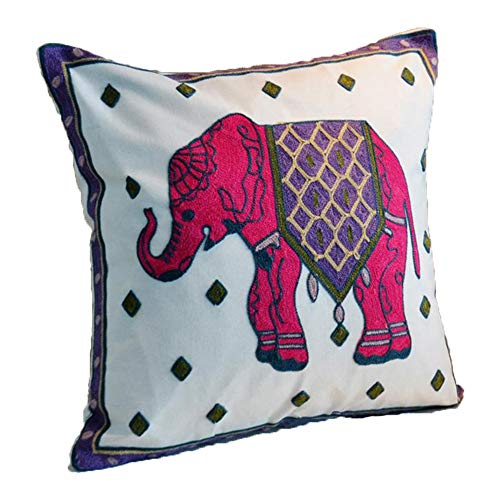 ZUODU Hand Made National Embroidery Bohemian Housewarming Car Home Decoration Cushion Cover/Throw Pillow Cover (Elephant-red)