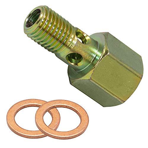 GlowShift Fuel Pressure Banjo Bolt Sensor Thread Adapter for 1998.5-2007.5 24-Valve 5.9L Dodge Ram 2500 3500 Cummins Diesel - Installs to Fuel Filter Housing - Includes Copper Crush Washers