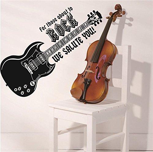 YIYEBAOFU gepersonaliseerde vliegtuig muur stickers, moderne home decoratie elektrische gitaar muur sticker muziek liefhebber kunst kamer muurschildering verwijderbare wal