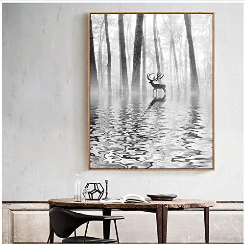 RuiChuangKeJi Abstract zwart en wit bos podium hert canvas foto Nordic Pop Art Poster afdrukken foto's voor woonkamer decoratie thuis 50x70cm(19.7