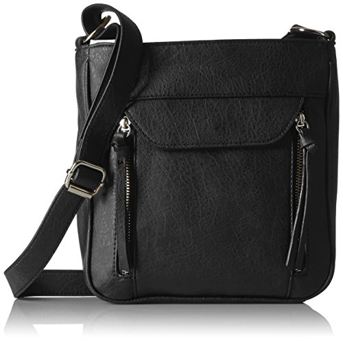 Bueno of California Zip Pocket Tech Cross Body with Phone Charger in Black