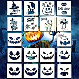 Halloween Stencil Set Template, 20 Pcs Plastic Stencil Template Glass Fabrics Wood Cards...