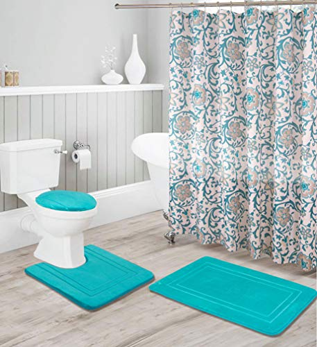 Better Home Style 16 Piece Solid Color Modern Design Embossed Memory Foam None-Slip Bathroom Rug Set Includes Bath Rug, Contour Mat, Lid Cover, Shower Curtain and 12 Roller Ball Hooks (Turquoise)
