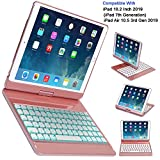 CWNOTBHY Keyboard Case for iPad 10.2 2019, iPad Air 10.5 2019, Backlit 360 Rotate Wireless Keyboard with Hard Back Cover, iPad 7th Generation Case with Keyboard (Rose Gold)