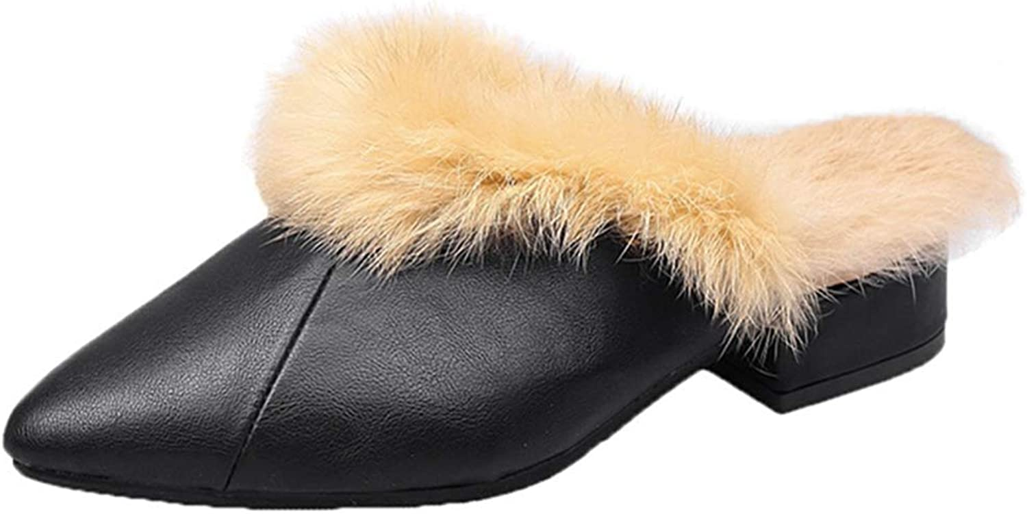 GIY Women's Pointed Toe Mules Loafers Bowknot Slingback Faux Fur Square Toe Low Heel Slip on Outdoor Slippers
