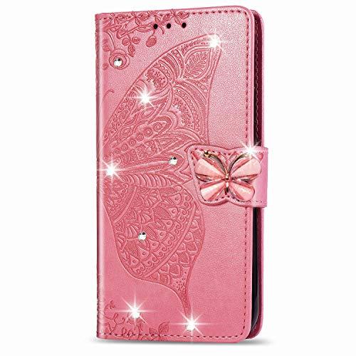 Blllue Wallet Case Kompatibel mit Samsung S9 Plus, S9 Plus Hülle Point Bling Diamant Schmetterling PU Leder Handy Schutzhülle für Samsung S9 Plus - Pink