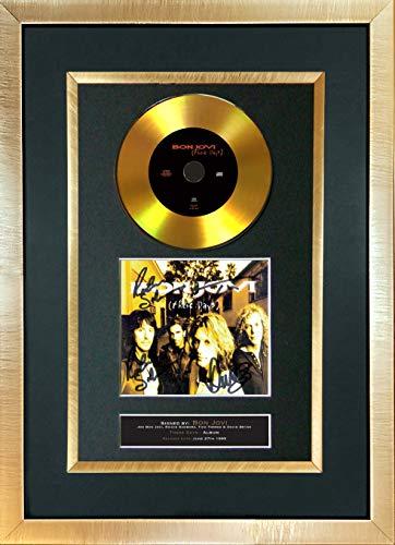 The Gift Room #140 Gold Disc Bon Jovi - Autógrafo Firmado en inglés This Days (A4, impresión de Hombre, Cueva, cumpleaños, Boda o Regalo