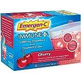 Emergen-C Immune+ 1000mg Vitamin C Powder, with Vitamin D, Zinc, Antioxidants and Electrolytes, Immune Support Dietary Supplement, Cherry Flavor - 30 Count/1 Month Supply