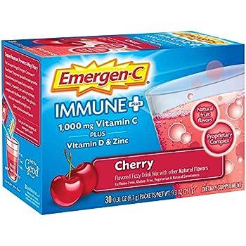 Emergen-C Immune+ 1000mg Vitamin C Powder with Vitamin D Zinc Antioxidants and Electrolytes Immune Support Dietary Supplement Cherry Flavor - 30 Count/1 Month Supply