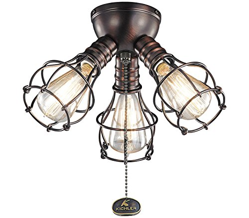 Kichler 370041OBB Industrial Fan Light Kit in Oil Brushed Bronze, 3-Light