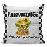 Old Farmhouse Canvas Throw Pillow Fundas, suaves y acogedoras fundas de cojín cuadrado para sofá cama, sofá, sala de estar, decoración al aire libre, 50 x 50 cm, cosecha de frutas de girasol de granja