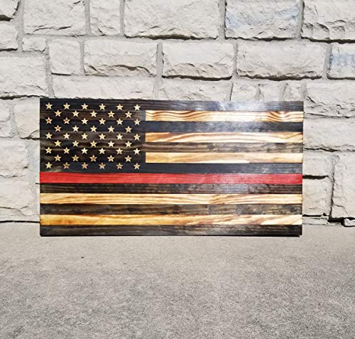 Thin Red Line Firefighter Rustic Wood Flag