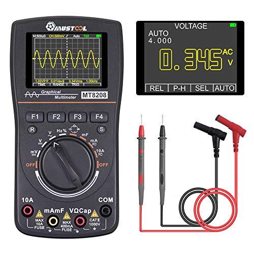 RFElettronica, MUSTOOL MT8208 Multímetro digital con osciloscopio 2 en 1, pantalla a color de 2,4 pulgadas, ancho de banda de 1 MHz, frecuencia de muestreo 2,5 Msps