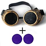 New Sell Vintage Steampunk Goggles Glasses Welding Cyber Punk Gothic with 2 Purple Lens