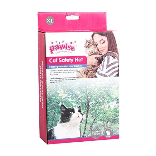PAWISE Red de protección para gatos para balcón transparente (800 x 300 cm) incluye una cuerda de 25 m, 20 ganchos 20 en la pared de goma...