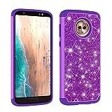 Moto G6 Case, Moto G (6th Gen) Case,Vfunn [Evening Series] Colorful Glittering Elegant Protective Case Cover for Motorola G (6th Gen) Case with Pink Stylus Pen (Purple)