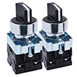 TWTADE / 2Pcs 22mm 2 NO 3 - Positions Maintained Latching Rotary Select Selector Switch 440V 10A (Quality Assurance for 3 Years) XB2-20X/31