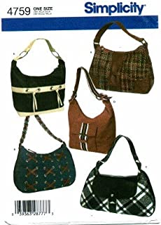 Simplicity 4759 Sewing Pattern Hobo Bags Purses