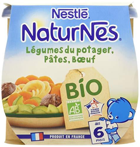 NESTLE NATURNES BIO Petits Pots Bébé Légumes du potager Pâtes Bœuf - Dès 6 mois - 2x190g - Pack de 8 ( 16 Pots )