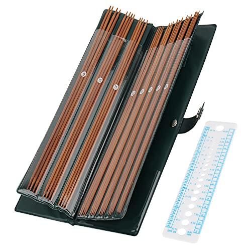 Coopay Agujas de tejer de bambú, 35 cm, ligeras, de doble punta, con funda de piel, de 2 a 5 mm, juego de 44 unidades para calcetines, punto o pequeños proyectos circulares